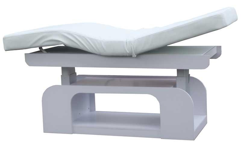 1235 Stationäre Luxus Elektro-Massageliege mit Heizung, Unterschrank, LED Sockel