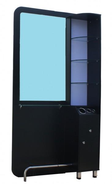 1387 Friseur Arbeitsplatzspiegel mit LED-Regal, Schubladen, schwarz