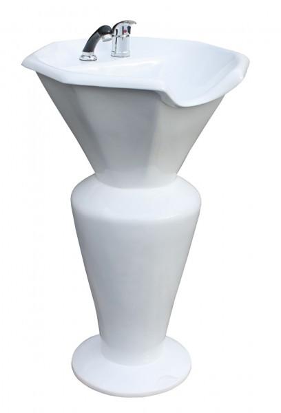 1317 Rückwärtswaschsäule Sockel weiß Becken weiß