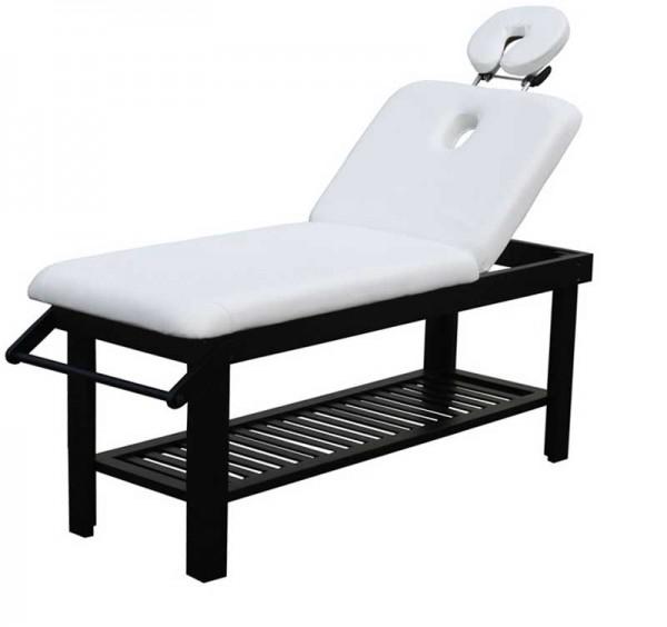 1234 SILVERFOX verstellbare Massageliege weiß / Holz schwarz