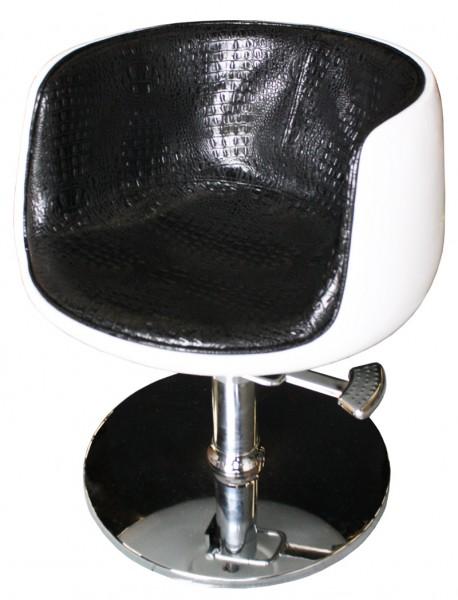 1895 Friseurstuhl PALIANO Rahmen weiß, PVC schwarz
