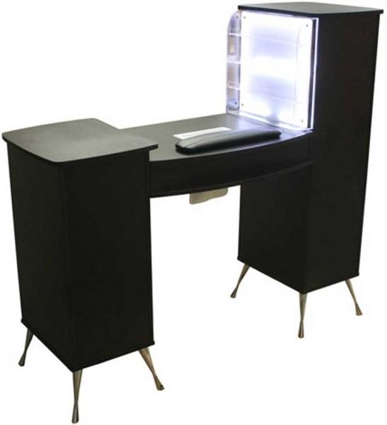1920 Maniküretisch m. Absaugung und LED-Rack Laminat schwarz