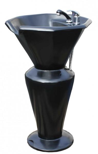 1317 Rückwärtswaschsäule Sockel schwarz Becken schwarz