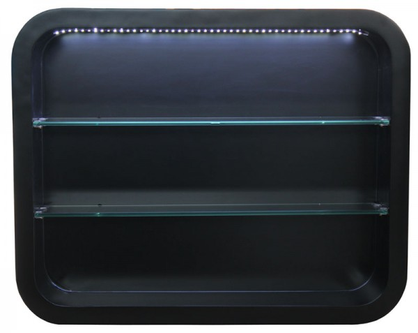 2032 Wandvitrine LOCARNO mit LED Schleiflack schwarz