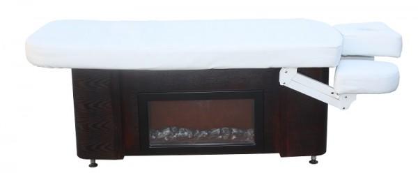 1263 StationŠre Luxus Elektro-Massageliege mit Heizung, Unterschrank, Deko-Kamin Sockel Holz Bezug