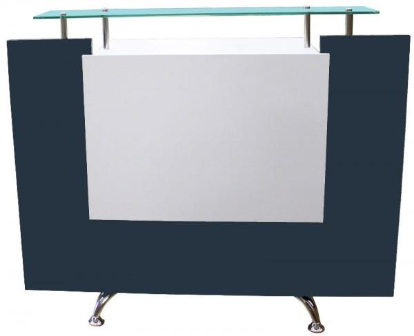 1462 Rezeption Frontplatte LED-backlight Laminat weiss, Korpus anthrazit + Glas