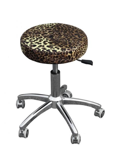 1111 Rollhocker chromfuß leopard