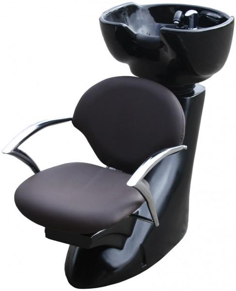 1319 Rückwärtswaschanlage MARTELLI Sockel schwarz / Sitz braun / Becken schwarz