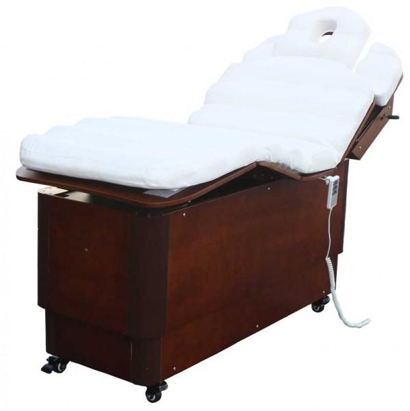 1238 SILVERFOX elektrische Massageliege beige / Holz