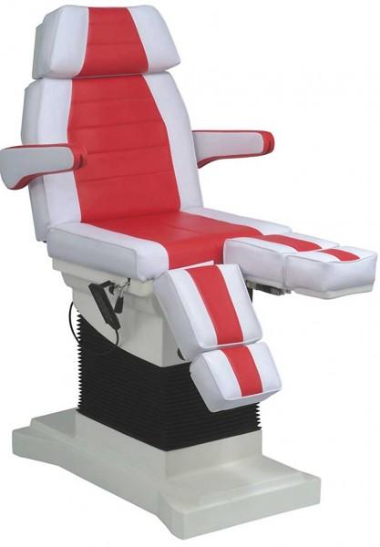 1444 Luxus-Fußpflegestuhl elektrisch weiß-rot 3 Motoren