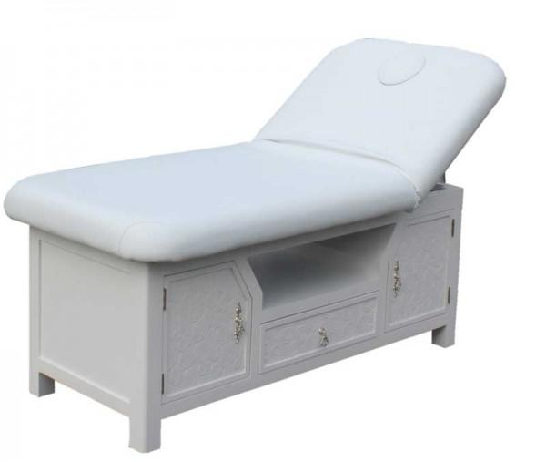 1266 Stationäre Massageliege mit Unterschrank Sockel weiß Bezug weiß