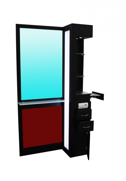2022 Spiegel TAVIANO einseitig schwarz, Acryl rot, mit LED