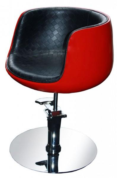1895 Frisierstuhl PALIANO Rahmen rot, PVC schwarz (B-Ware)