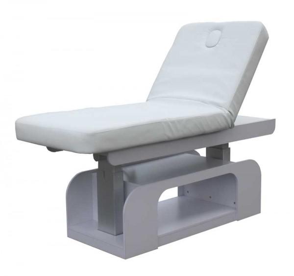 1235 Stationäre Luxus Elektro-Massageliege mit Heizung, Unterschrank, LED Sockel weiss Bezug weiß