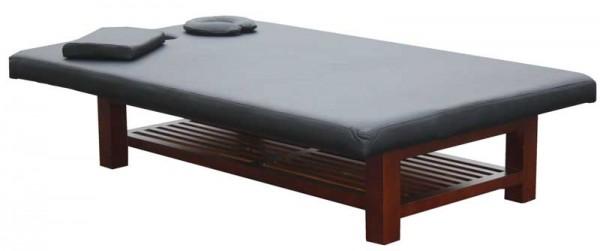 1267 Thai-Massagetisch BTH 190 x 120 x 45 cm Sockel holz Bezug schwarz